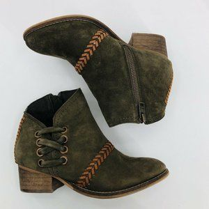 REBELS Heeled Low Ankle Zip Boots - Size 6 - Green